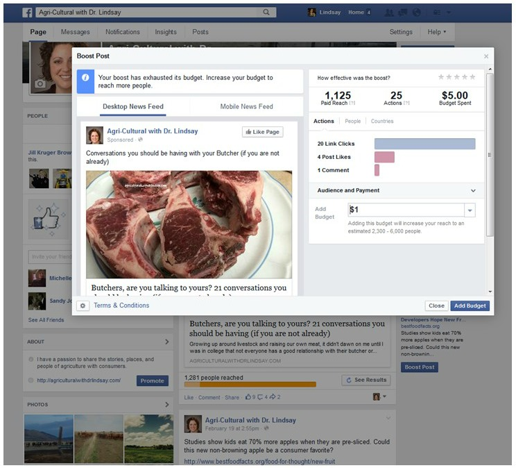Facebook promotion – Agricultural with Dr  Lindsay